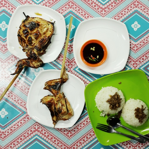 Pastil with chicken barbecue