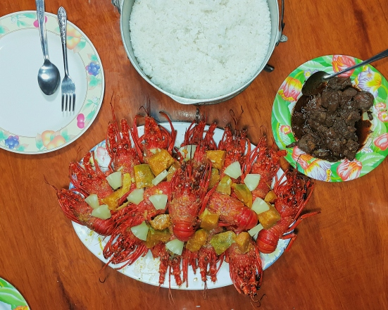 Brye was our designated chef in the island. One of the best meals that he cooked was this ginataang lobsters. Yum!
