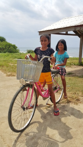 These girls in Calayan often use the bicycle as their mode of transportation going to different places in town.