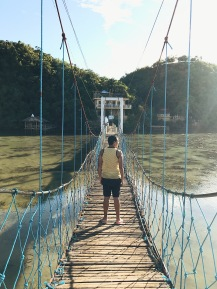 Here's the hanging bridge in Tinagong Dagat. You'd need to walk here and then go up to the top of the hill to have a good view of the place.