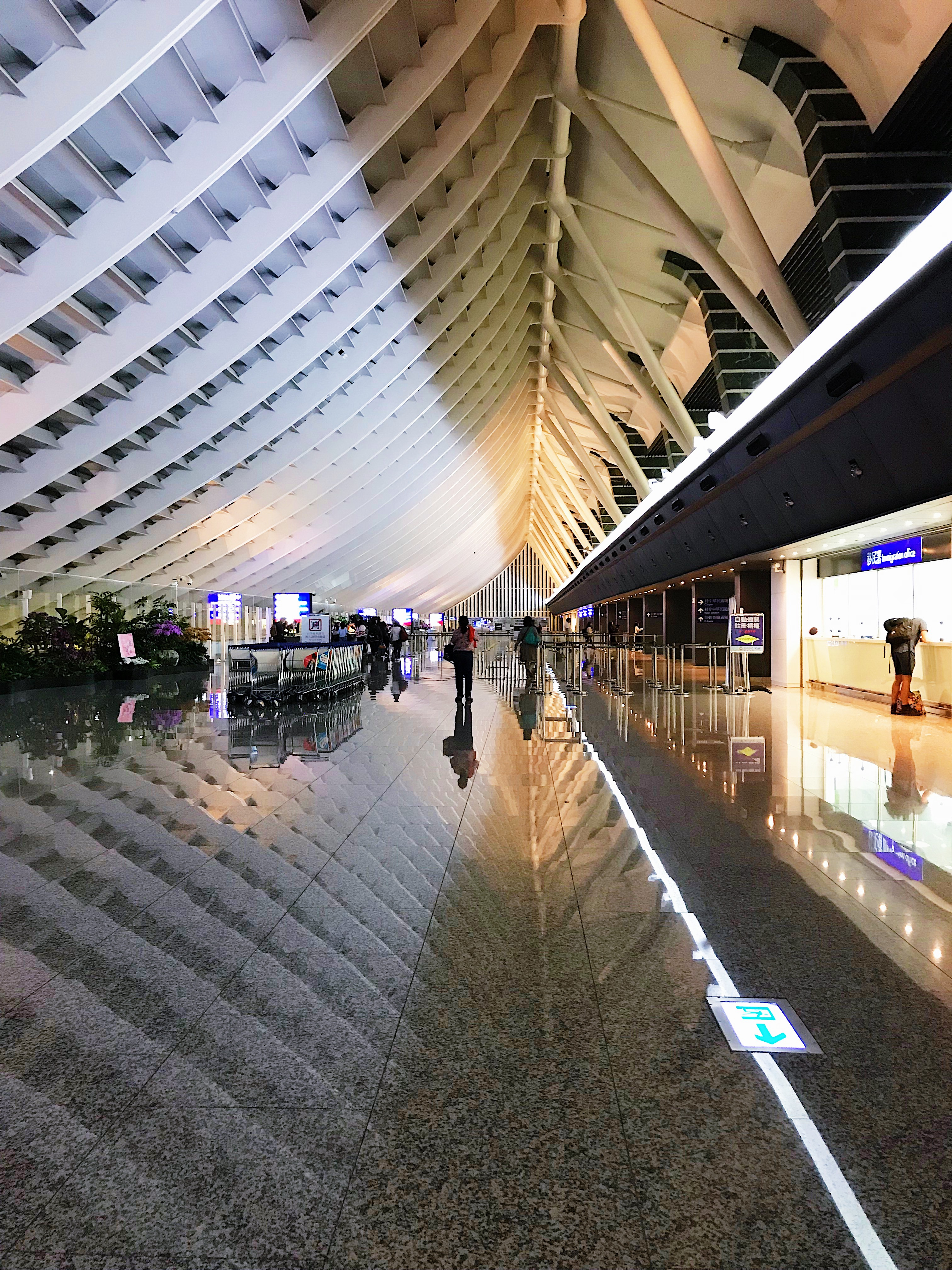 BEAUTIFUL INTERIOR. This is Taoyuan Taiwan Internation Airport's beautiful interior late at night.