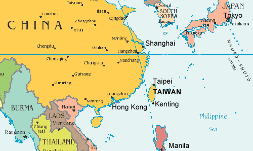 MAP OF TAIWAN. Courtesy of heritageartstexas..com