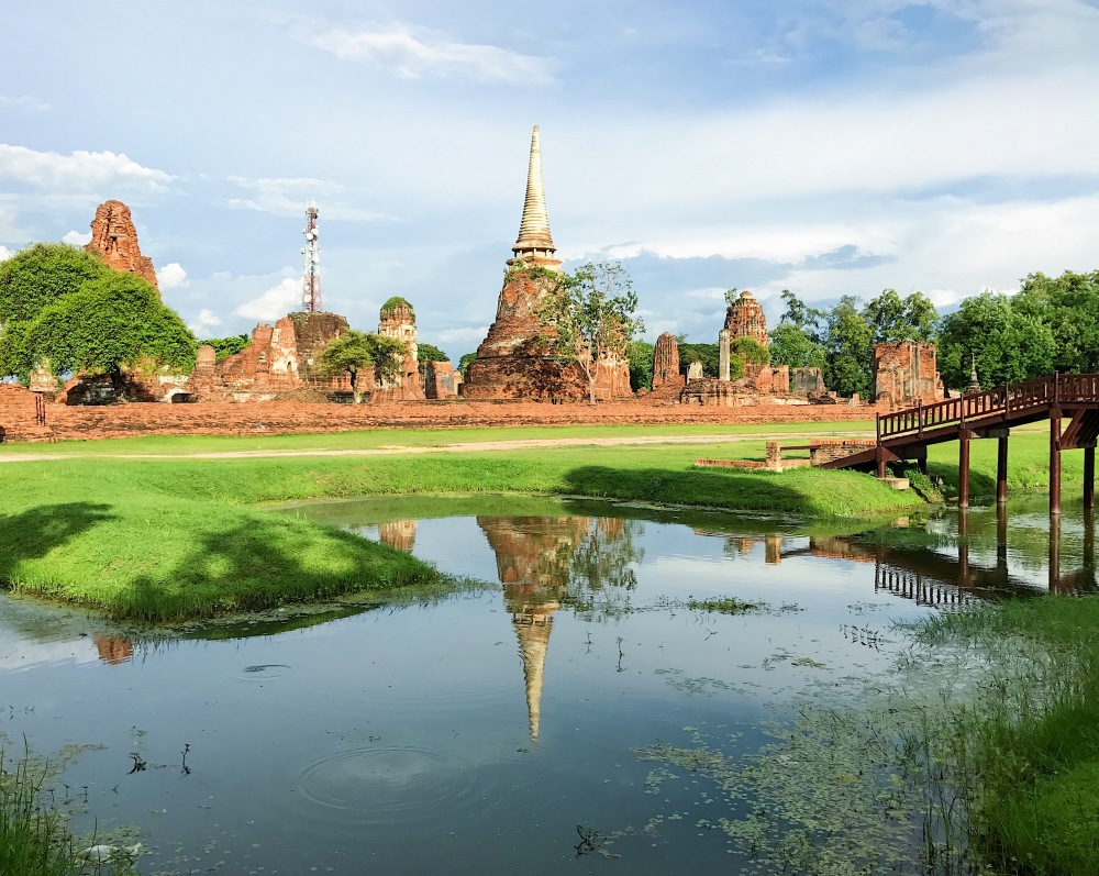 AYUTTHAYA! A lagoon in Ayutthaya made a beautiful reflection of one of the temples found in the ancient city.