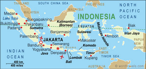 The Map of Indonesia (courtesy of Medford website)