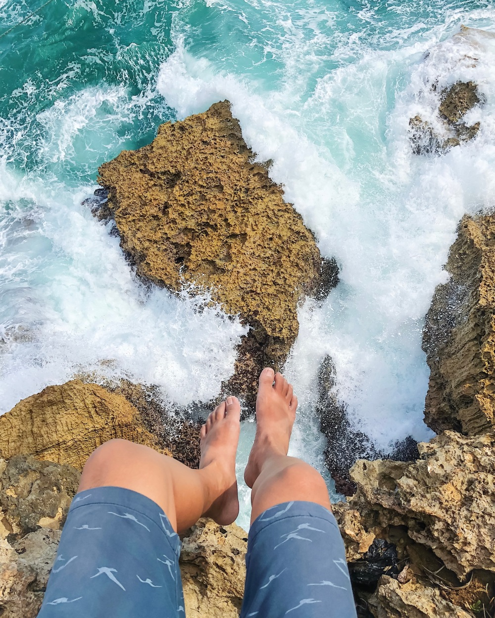 HUMONGOUS. Big, emerald waves crash on the coastline of Timang Beach, which is made up of rocky cliffs. After spending some time taking pictures of the surroundings, I decided to sit down and just watch the waves below me as they hit the rocks down there. That moment was very memorable as I really felt the energy of the sea against the seemingly steady yet diminishing toughness of the land.
