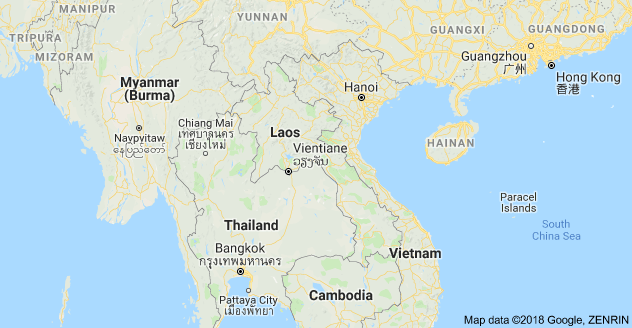 Laos Map (courtesy of Google)