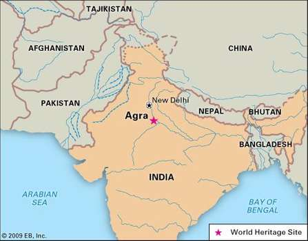Agra Map - courtesy of Britannica