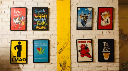 The hostel has these artsy and witty posters and art walls.